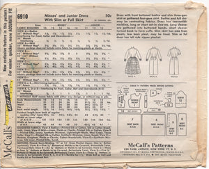 "1960's McCall's Shirtwaist Dress with Slim or Full Skirt - Bust 32"" - No. 6910"