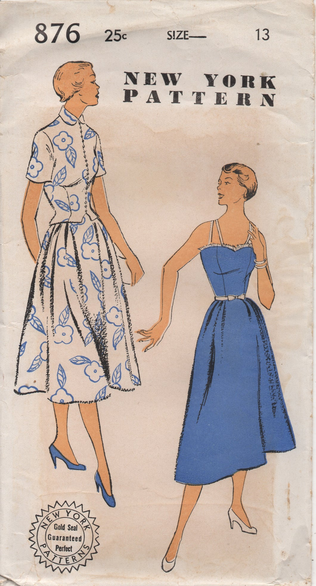 1950's New York One-Piece Dress with Double thin Straps and Bolero Pattern - Bust 31