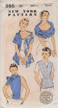 1950's New York Scarf with buttons, Dickey with Pussy Bow or Jerkin with V neck - B.30-32 - UC/FF - No. 986