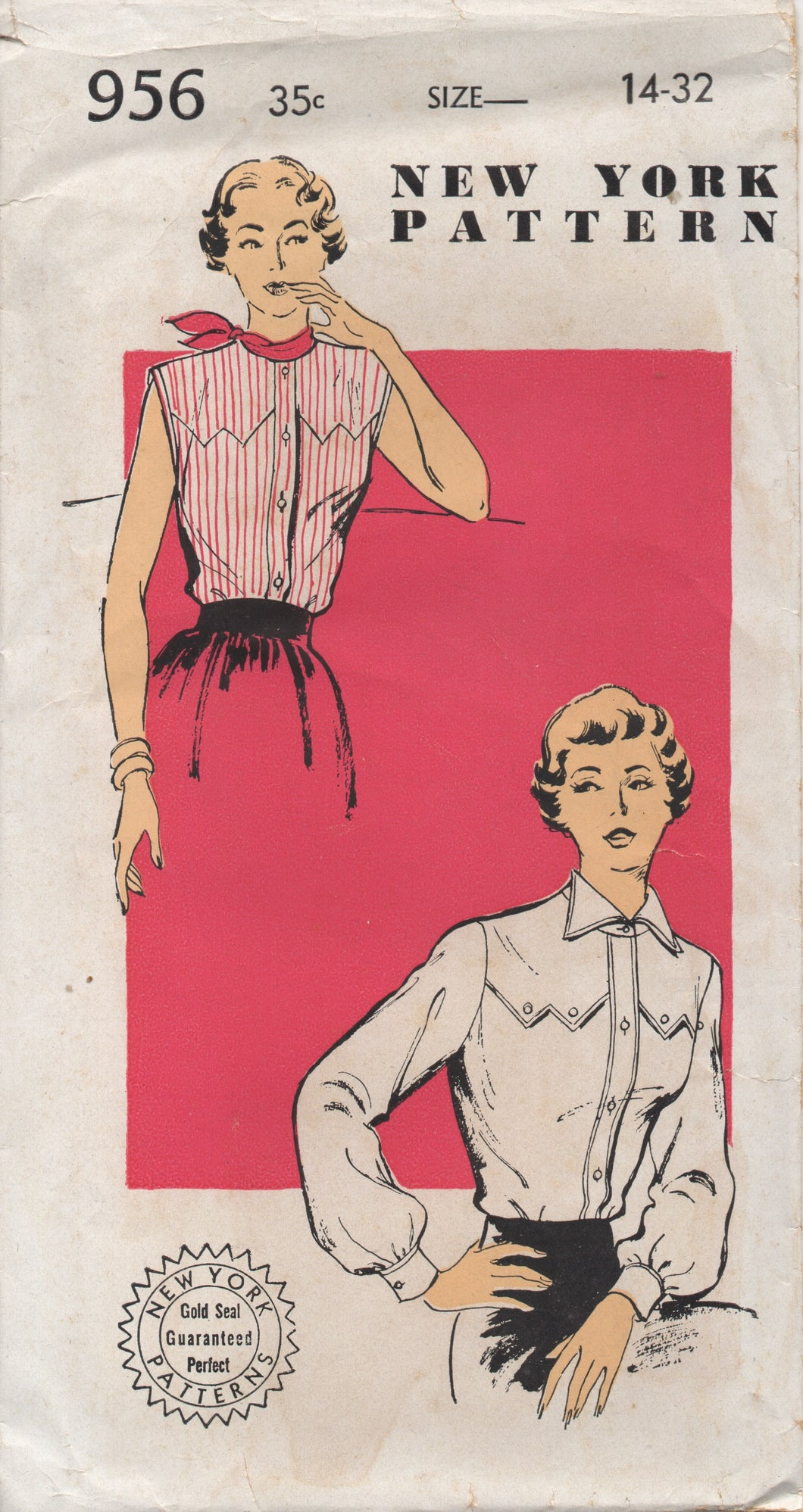 1950's New York Western Style Yoke Blouse with or without sleeves Pattern - Bust 32