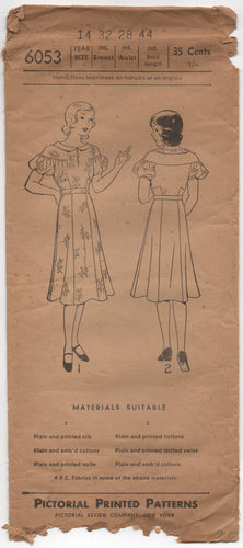1930's Pictorial Junior's One Piece Dress with Moulded Shoulder and Puff Sleeve - Bust 32