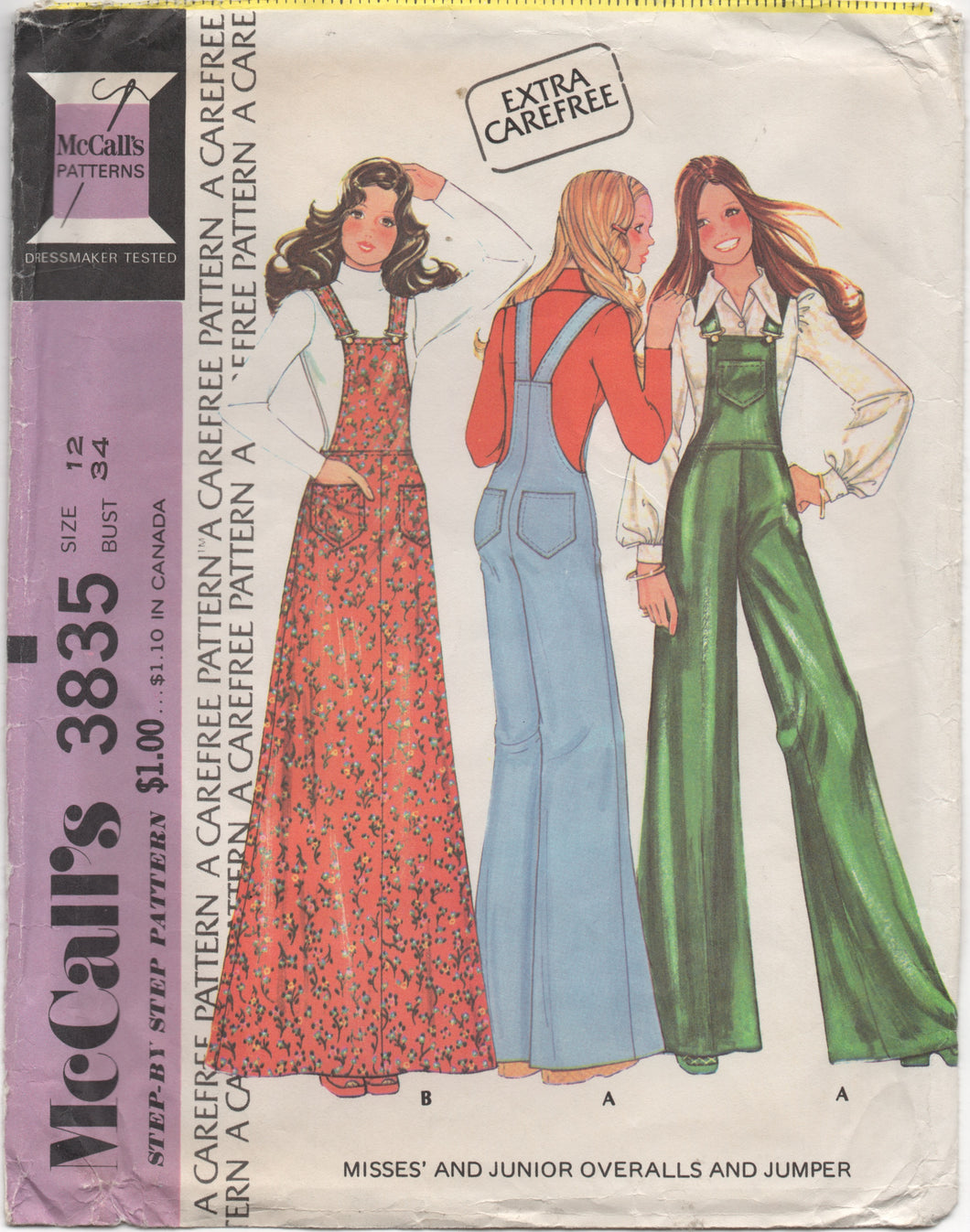 1970's McCall's Overalls and Overall Jumper - Bust 34