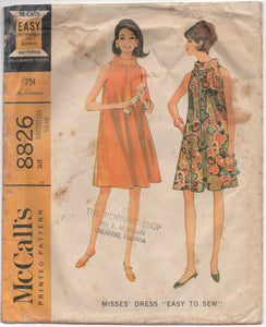 "1960's McCall's Flowing Tent Dress with Mandarin collar - Bust 34-36"" - No. 8826"