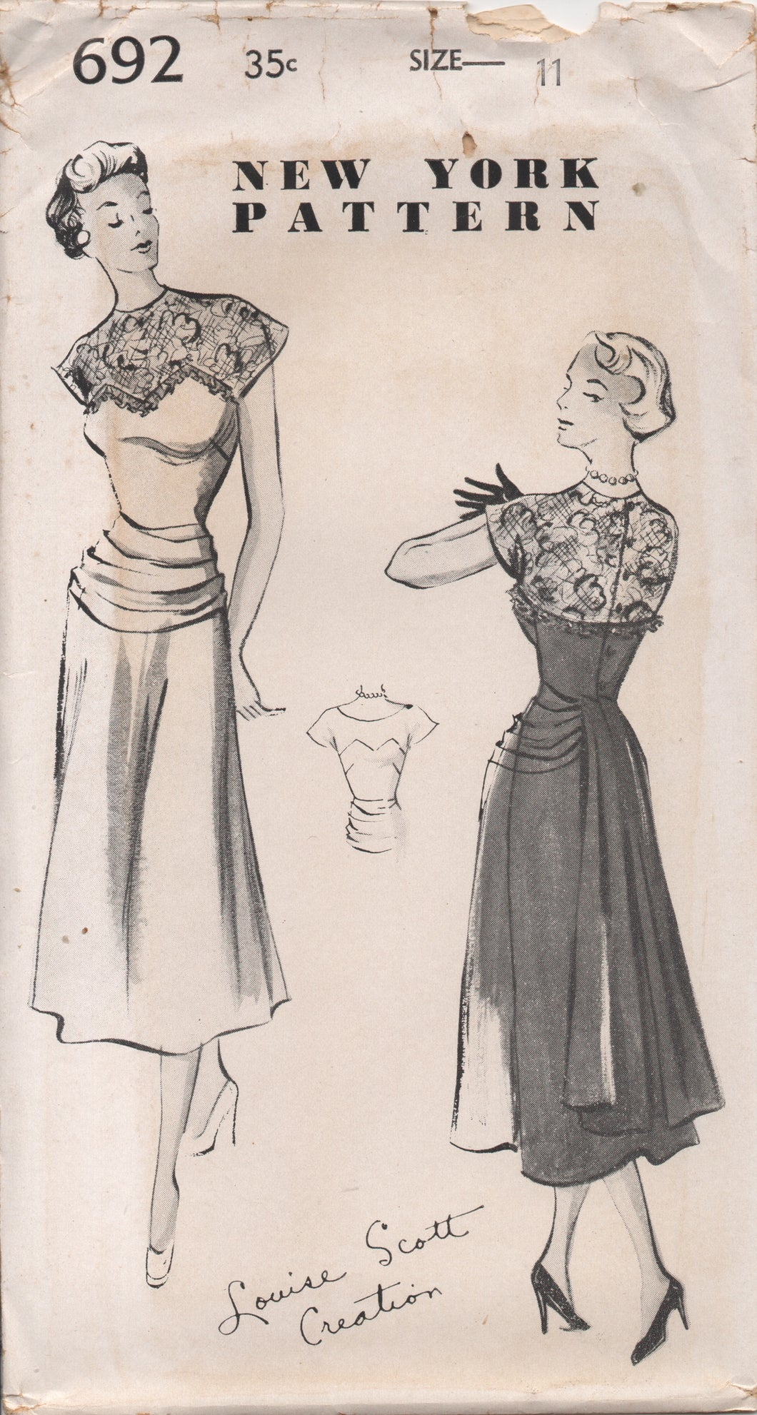 1950's New York One Piece Dress Sweetheart Neckline and Sheer Yoke and Pleated Cummerbund - Bust 29