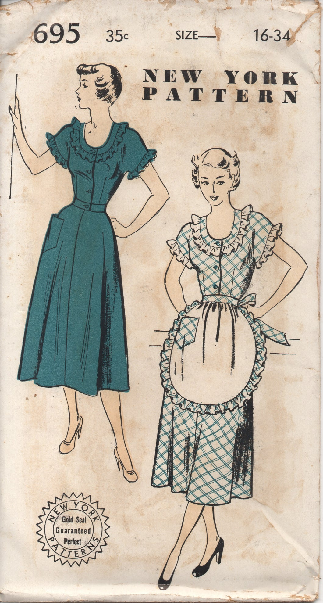 1950's New York One Piece Dress with Scoop Neckline and Half Apron - Bust 34