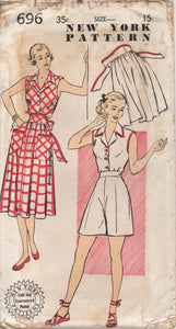 "1940's New York Playsuit with Tie-Wrap Skirt and High Waisted Button Shorts - Bust 33"" - UC/FF - No. 696"