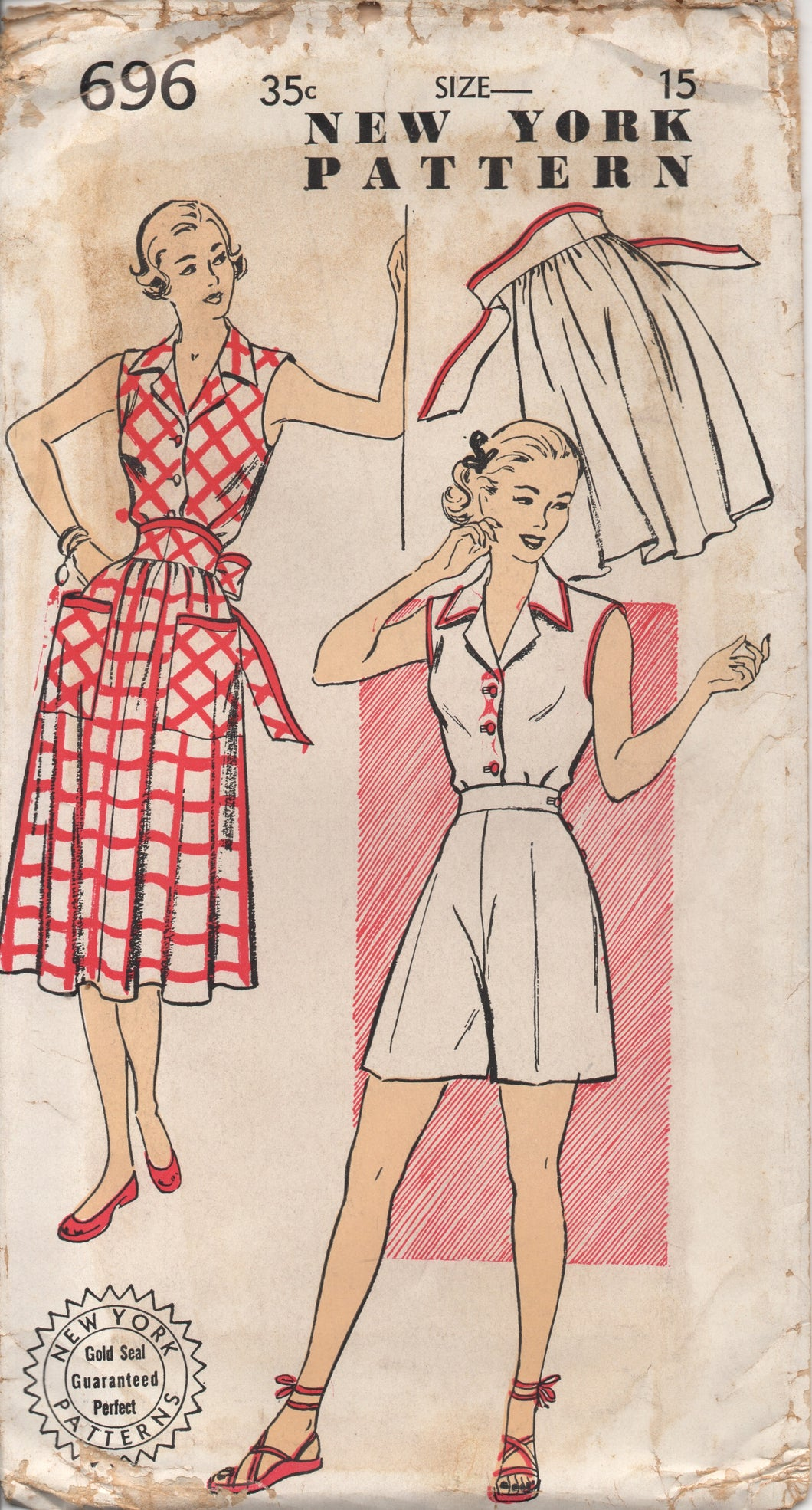 1940's New York Playsuit with Tie-Wrap Skirt and High Waisted Button Shorts - Bust 33