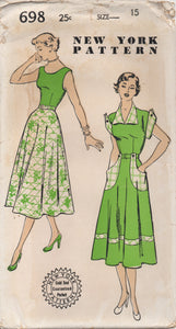 "1940's New York One Piece Dress with Large Pockets, Cuffs and Collar - Bust 33"" - UC/FF - No. 698"