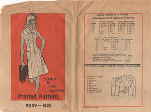 "1970's Marian Martin One Piece Dress with Distinctive Collar - Bust 38"" - No. 9059"