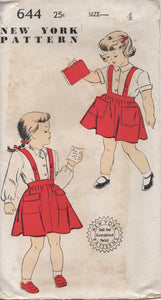 "1950's New York Girl's Blouse and Skirt with Suspenders - Breast 23"" - UC/FF - No. 644"