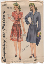 "1940's Simplicity One Piece Drop-waist Dress with Dirndl Skirt - Bust 34"" - No. 4526"