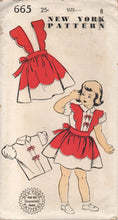 "1950's New York Girl's Blouse and Skirt with Scallop Suspenders - Breast 26"" - UC/FF - No. 665"