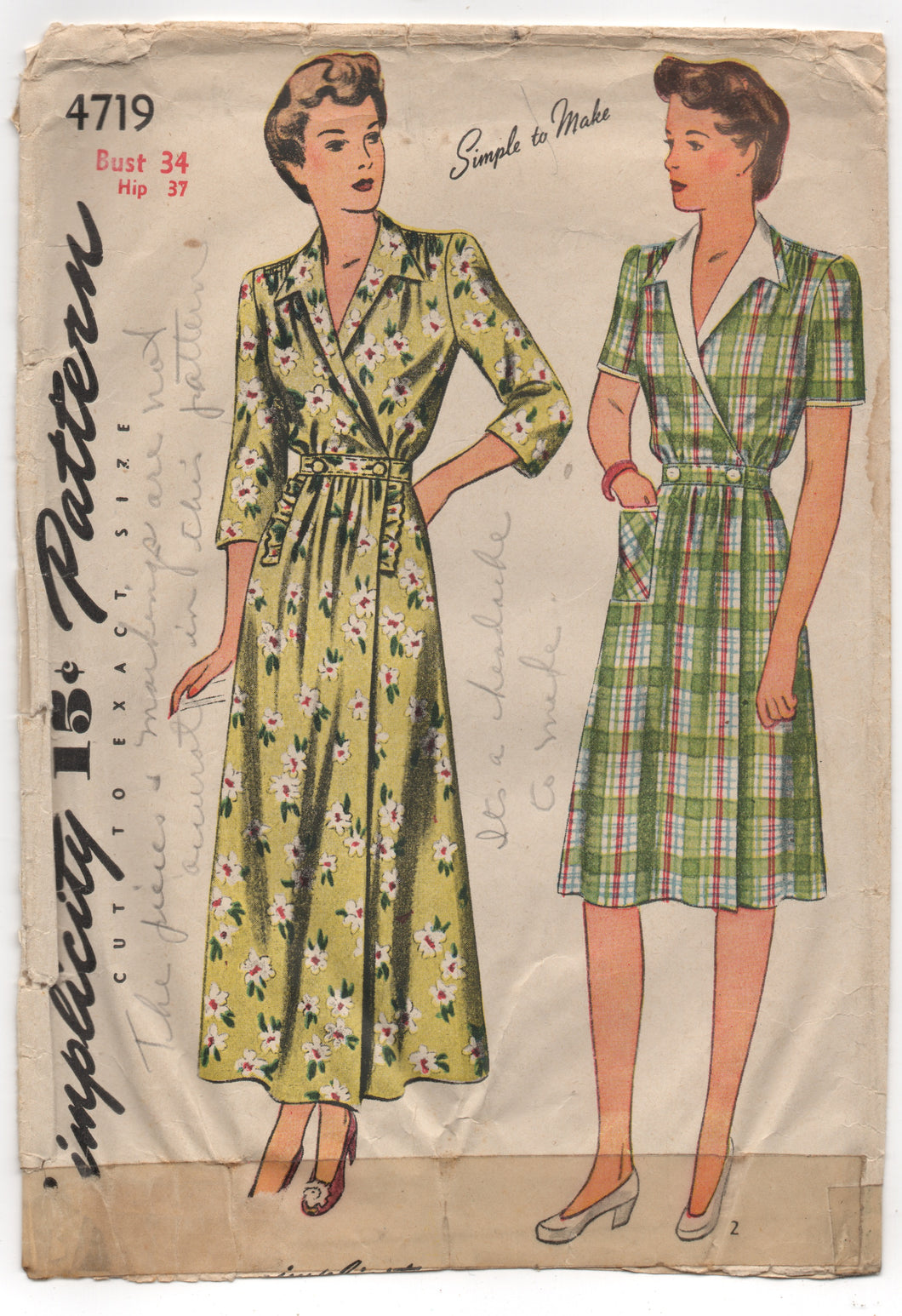 1940's Simplicity Housecoat or Dress with Pocket - Bust 34