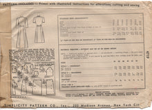 "1940's Simplicity Housecoat or Dress with Pocket - Bust 34"" - No. 4719"