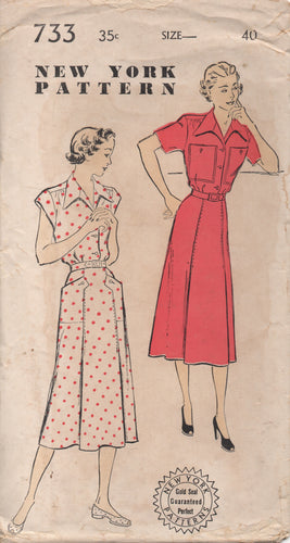 1950's New York One Piece Dress with Gathered Shoulders and Large Pockets - Bust 40