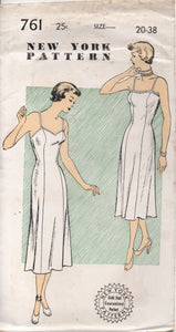 "1950's New York Slip with Straight or Sweetheart Neckline - Bust 38"" - UC/FF - No. 761"