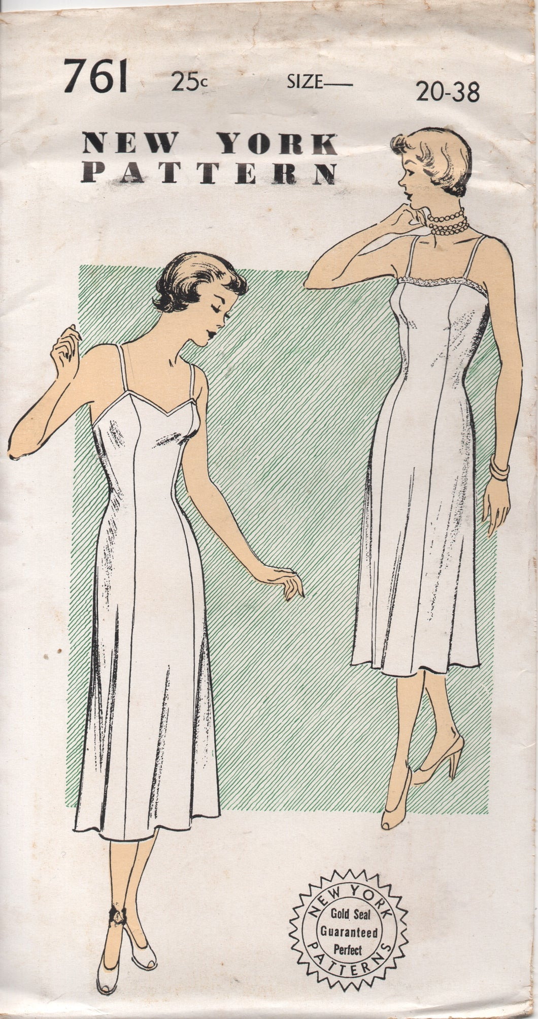 1950's New York Slip with Straight or Sweetheart Neckline - Bust 38