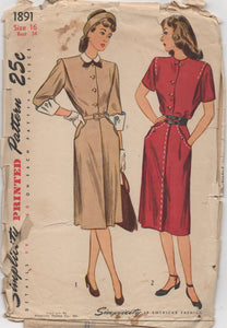 "1940's Simplicity Shirtwaist Dress with detailed pockets and oversized cuffs - Bust 34"" - No. 1891"