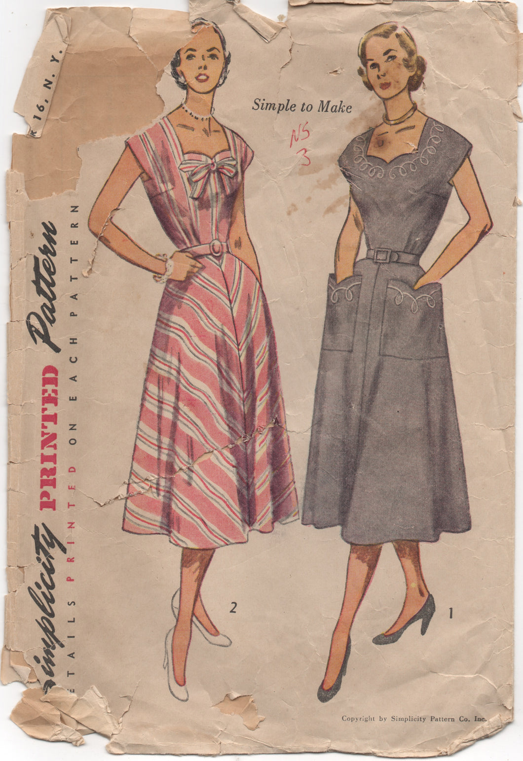"1950's Simplicity One Piece Dress with Sweetheart Neckline- Bust 36"" - No. 3586"
