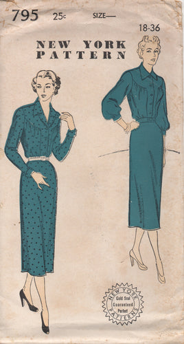 1950's New York One Piece Dress with Large Round Yoke and Slim or Bishop Sleeve - Bust 36