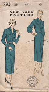 "1950's New York One Piece Dress with Large Round Yoke and Slim or Bishop Sleeve - Bust 40"" - UC/FF - No. 795"
