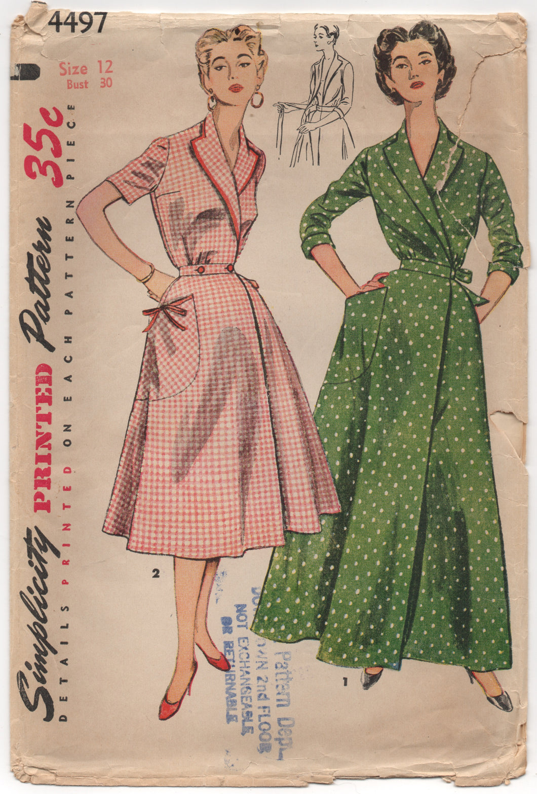1950's Simplicity House Dress or Robe in Two Lengths & Large Pockets - Bust 30