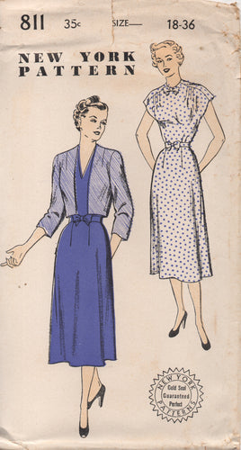 1950's New York One Piece Dress with V neck or High neck and Bow and Bolero - Bust 36