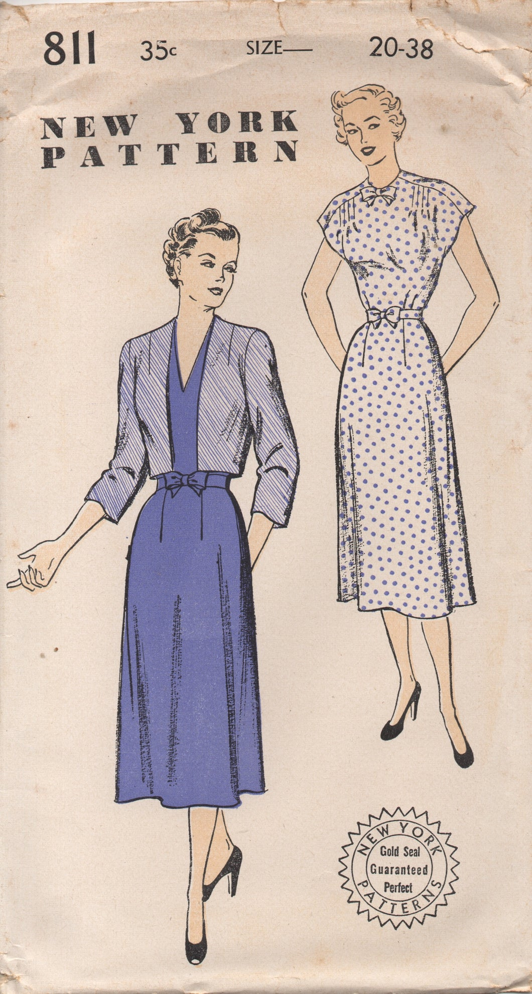 1950's New York One Piece Dress with V neck or High neck and Bow and Bolero - Bust 38