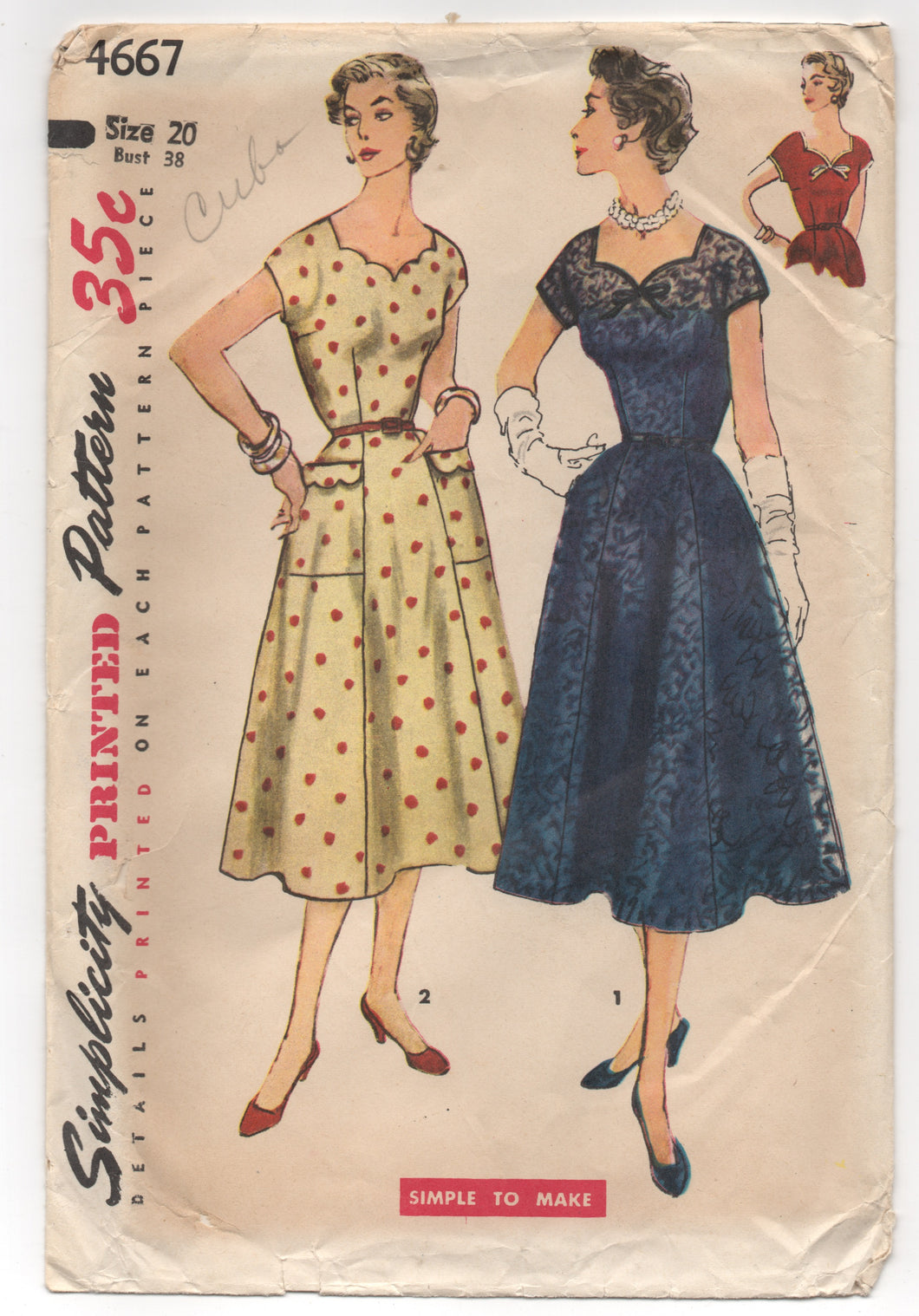 1950's Simplicity Day Dress with Scallop Neckline and Pockets - Bust 38