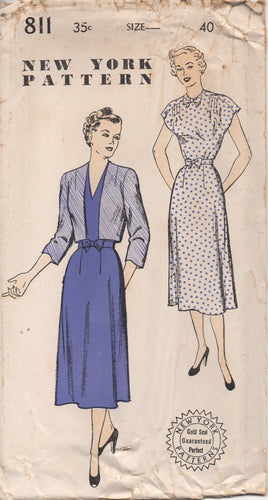 1950's New York One Piece Dress with V neck or High neck and Bow and Bolero - Bust 40