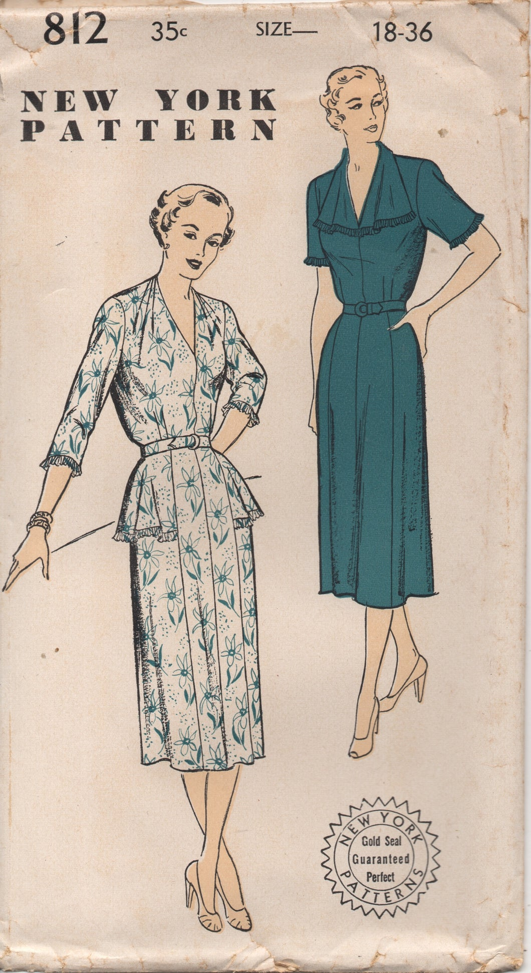 1950's New York One Piece Dress with Tucked Shoulder detail and Hip Flare - Bust 36