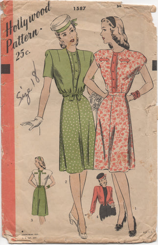"1940's Hollywood One Piece Dress with Arrow Lapel and Bolero Pattern - Bust 36"" - No. 1587"