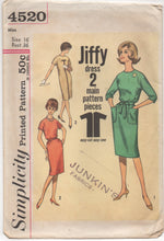 "UC/FF - 1960's Simplicity One Piece Dress with pockets and Two sleeve lengths - Bust 36"" - No. 4520"