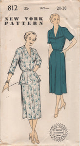 "1950's New York One Piece Dress with Tucked Shoulder detail and Hip Flare - Bust 38"" - UC/FF - No. 812"