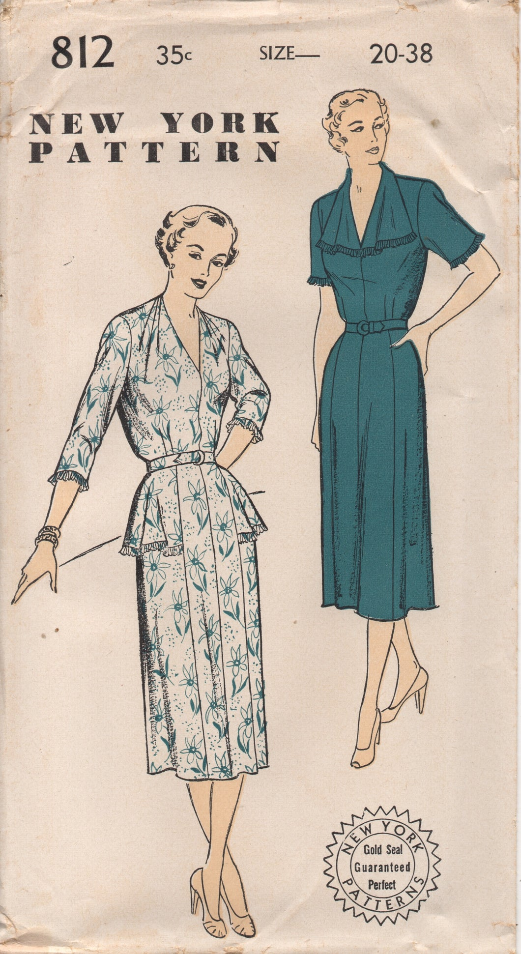1950's New York One Piece Dress with Tucked Shoulder detail and Hip Flare - Bust 38