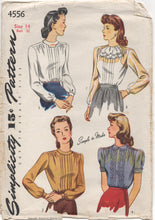 "1940's Simplicity Blouse with tucked front and Peter Pan Collar or Jabot - Bust 32"" - No. 4556"