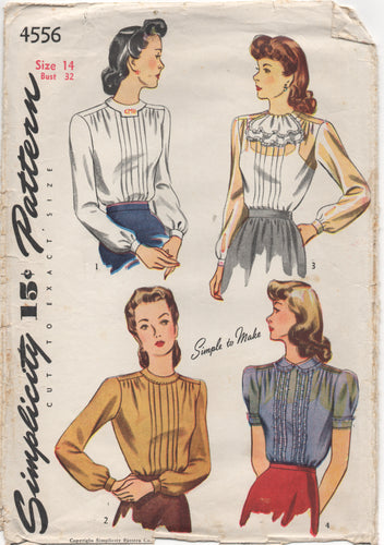 1940's Simplicity Blouse with tucked front and Peter Pan Collar or Jabot - Bust 32