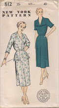 "1950's New York One Piece Dress with Tucked Shoulder detail and Hip Flare - Bust 40"" - UC/FF - No. 812"