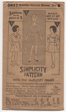 "1930's Simplicity Girl's One Piece Cross-Over Front Dress with 3 Sleeves - Breast 26"" - No. 3017"
