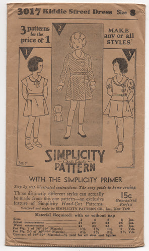 1930's Simplicity Girl's One Piece Cross-Over Front Dress with 3 Sleeves - Breast 26