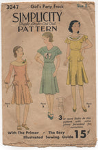 "1930's Simplicity Girl's One Piece Party Dress with Side Panels - Bust 26"" - No. 3047"