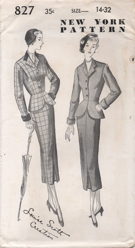1950's New York Two Piece Suit with Peplum and Fitted Skirt - Bust 32