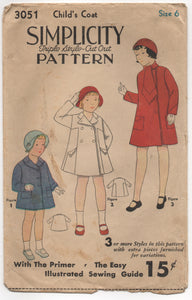 "1930's Simplicity Child's Coat in 3 Styles and Tie Pattern - Chest 24"" - No. 3051"