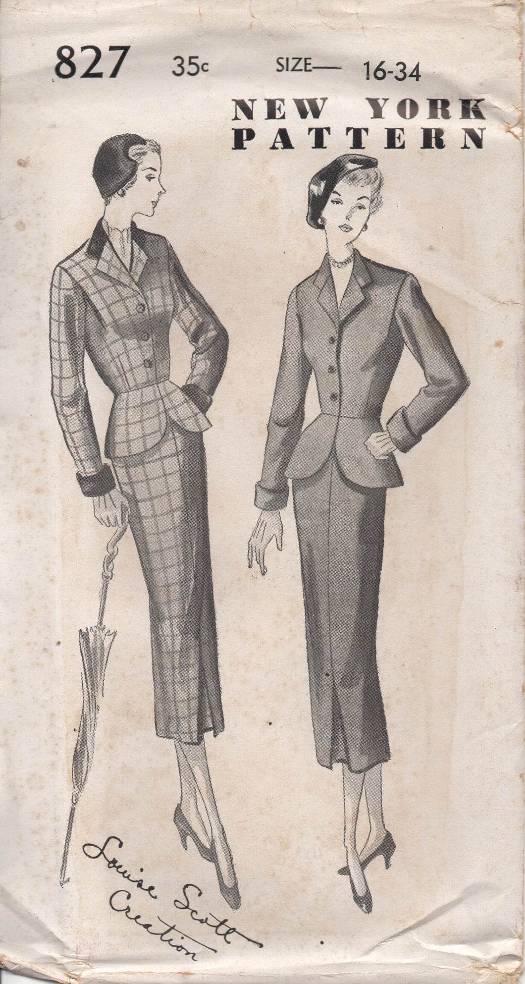 1950's New York Two Piece Suit with Peplum and Fitted Skirt - Bust 34