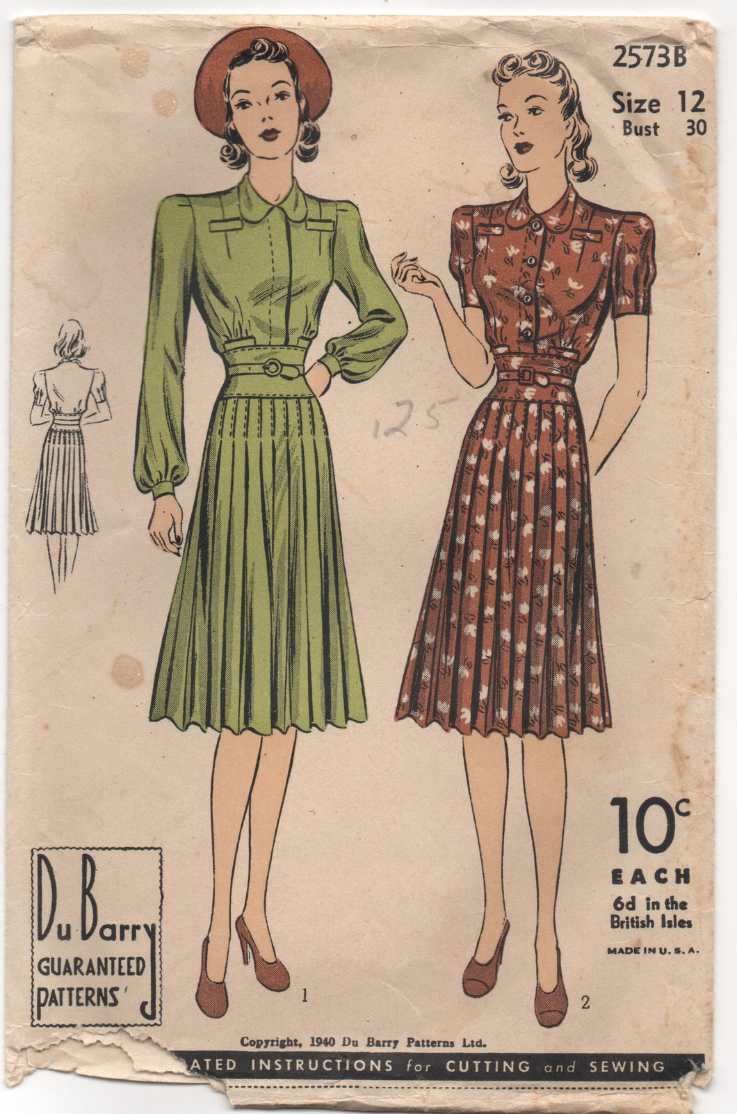 1940's DuBarry One Piece Dress with Defined waistband and pleated skirt - Bust 30
