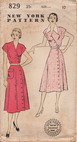1950's New York One Piece Dress with Crossover Button Front and Patch Pocket - Bust 28