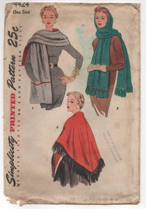 1940's Simplicity Rectangular and Triangular Stole Pattern - One Size - No. 4424