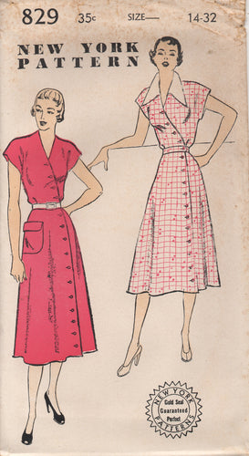 1950's New York One Piece Dress with Crossover Button Front and Patch Pocket - Bust 32