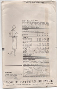 "1950's Vogue One Piece Shirtwaist Dress with Tie Belt -  UC/FF - Bust 40"" - No. 9459"