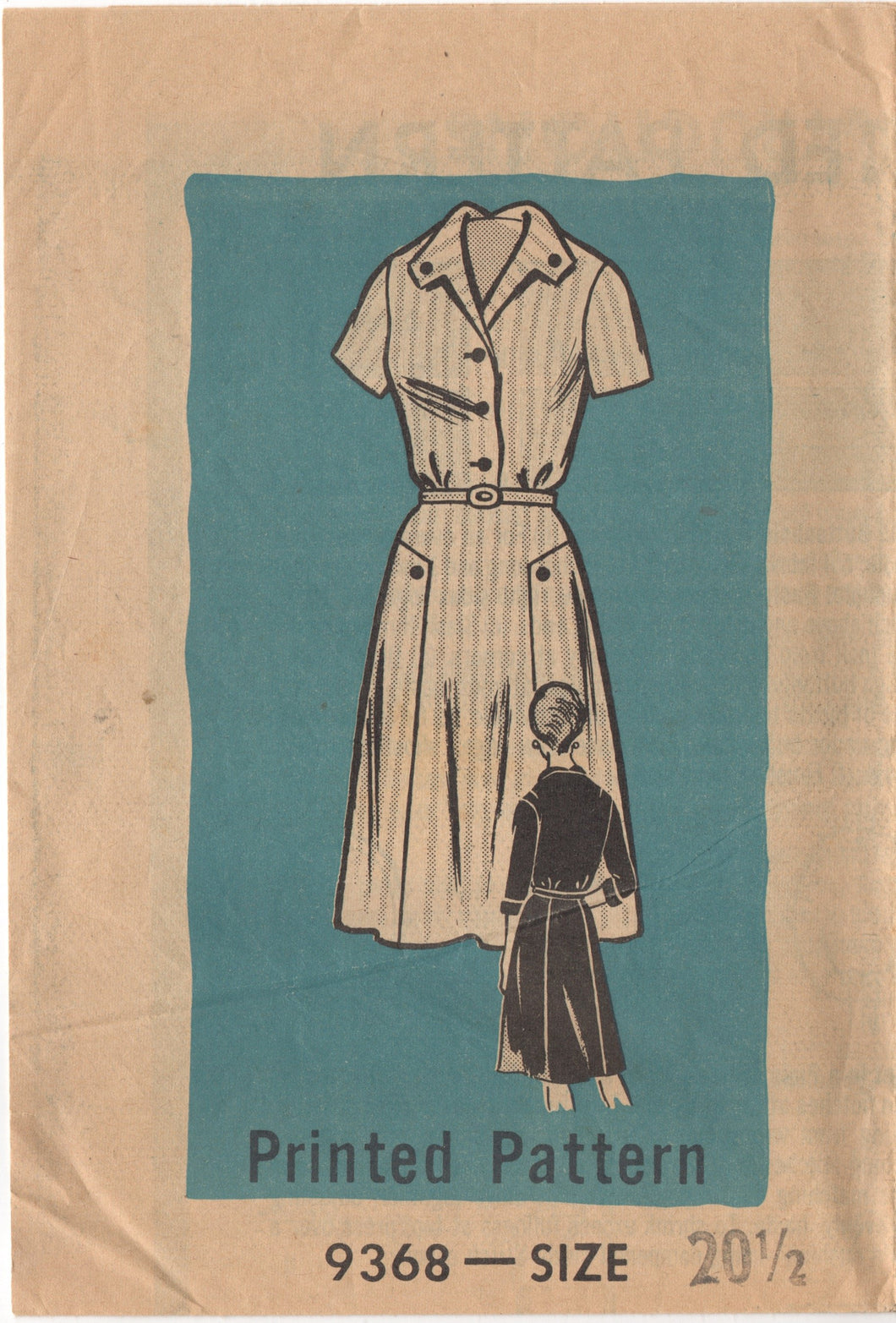 1960's Mail Order Shirtwaist Dress with contrast side panels - Bust 41